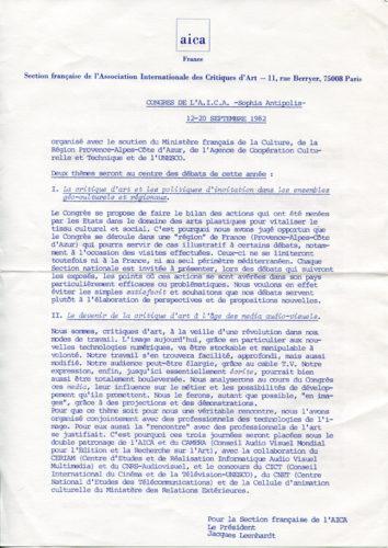 Présentation des thèmes du Congrès de 1982 (Sophia-Antipolis) - Fonds Jacques Leenhardt